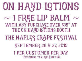 Sunny skies. Grape Pie. And free lip balm. (Yum!)